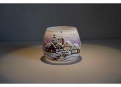 Vánoční sklenička I. na svíčku 8,5cm den / noc fialová