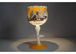 Christmas candle goblet on the leg - orange color www.sklenenevyrobky.cz