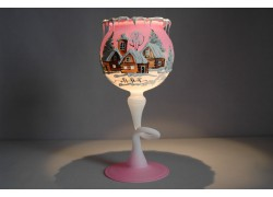 Christmas goblet for a candle on a leg - pink color www.sklenenevyrobky.cz