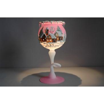 Vánoční kalich na svíčku na noze grafika růžový