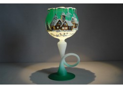 Christmas cup for a candle on a leg in green www.sklenenevyrobky.cz