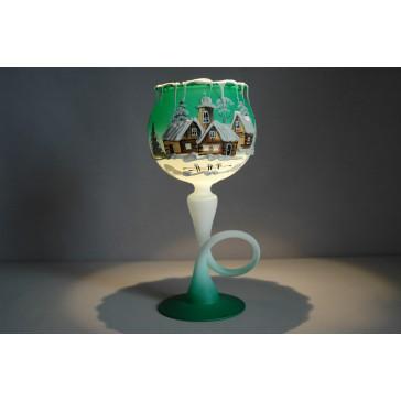 Vánoční kalich na svíčku na noze grafika zelený