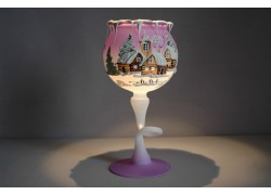 Christmas goblet for a candle on a leg, purple color www.sklenenevyrobky.cz