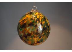 Glass ball 10cm orange-green www.sklenenevyrobky.cz