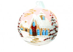 Weihnachtskugel mit Weihnachtsmalerei 10 cm www.sklenenevyrobky.cz