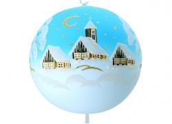 Christmas balls, 20cm, light blue, with Christmas landscape www.sklenenevyrobky.cz
