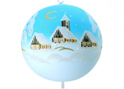 Vánoční koule, 20cm, světle modrá, s vánoční krajinou www.sklenenevyrobky.cz