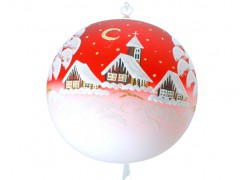 Christmas balls, 20cm, red, with Christmas motif www.sklenenevyrobky.cz