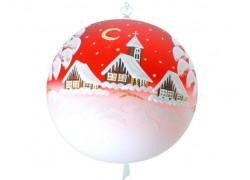 Vánoční koule, 20cm, červená, s vánočním motivem www.sklenenevyrobky.cz