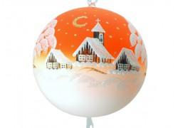 Vánoční koule, 20cm, oranžová, s vánočním motivem www.sklenenevyrobky.cz