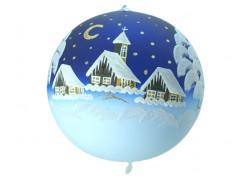 Vánoční koule, 20cm, modrá, s vánoční malbou www.sklenenevyrobky.cz