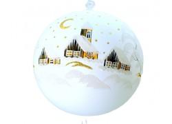Vánoční koule, 20cm, bílá, s vánoční malbou www.sklenenevyrobky.cz