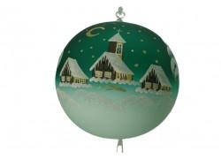 Christmas balls, 20cm, green, with xmas landscape www.sklenenevyrobky.cz