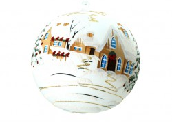 Christmas balls, 20cm, white, with Christmas decor www.sklenenevyrobky.cz