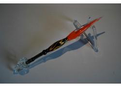 Skleněné psací pero velké 15-18cm se stojánkem I.
