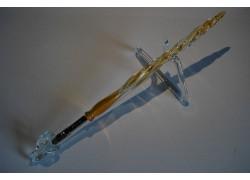 Skleněné psací pero velké 15-18cm se stojánkem VI.