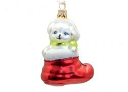 Christmas ornament dog in a shoe www.sklenenevyrobky.cz