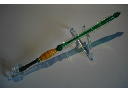 Skleněné psací pero velké 15-18cm se stojánkem X.