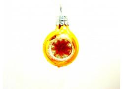 Vánoční ozdoba koulička-vpichovaný reflektor-žlutá 3 cm