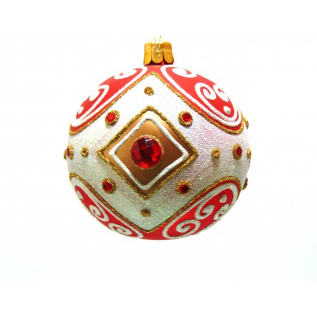 Christmas ball 8 cm decorated with glass stones