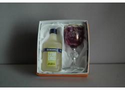 Dárkový set Becherovka Lemond mini 0,05l fialová sklenička