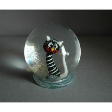 Sněhová koule 80mm kočka černá