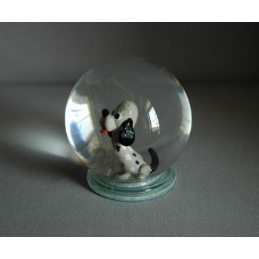 Sněhová koule 80mm pejsek bílý