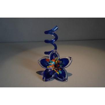 Svícen květina z hutního skla 10x13cm I.