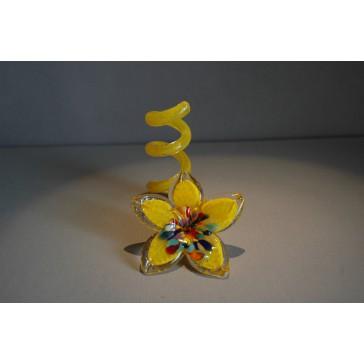Svícen květina z hutního skla 10x13cm III.