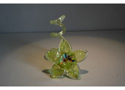 Svícen květina z hutního skla 10x13cm IV.