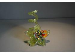 Svícen květina z hutního skla 10x13cm V.