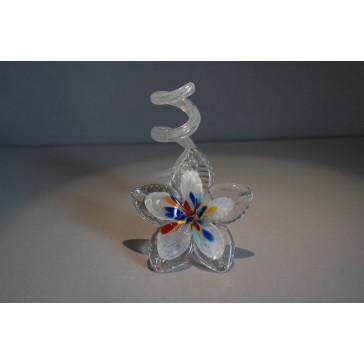 Svícen květina z hutního skla 10x13cm VII.