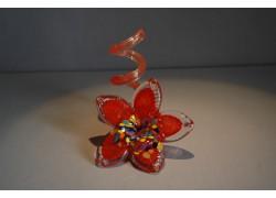 Svícen květina z hutního skla 10x13cm IX.