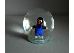 Snow globe and mole in blue pants www.sklenenevyrobky.cz