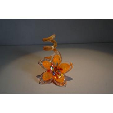Svícen květina z hutního skla 10x13cm X.