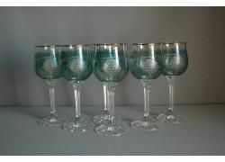 Wine glass, 6 pcs, with grape decoration, in green www.sklenenevyrobky.cz