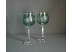 Wine glass, 2 pcs, flower decor, in green www.sklenenevyrobky.cz