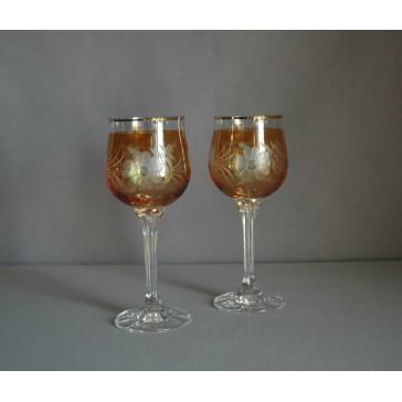 Poháre na víno, 2 ks, dekor kvetina, v žltej www.sklenenevyrobky.cz