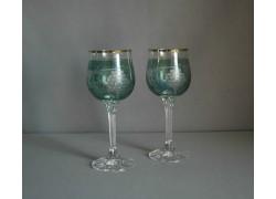 Wine glass, 2 pcs, grape decor, in green www.sklenenevyrobky.cz