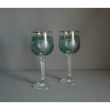 Poháre na víno, 2 ks, dekor hroznového vína, v zelenej www.sklenenevyrobky.cz