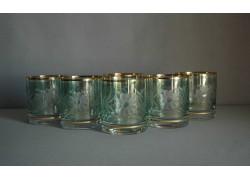 Glasses of whiskey engraved flower flower, in green www.sklenenevyrobky.cz