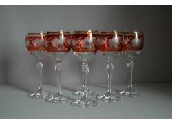 Wine glass, 6 pcs, decor flowers, in red www.sklenenevyrobky.cz