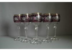 Wine glass, 6 pcs, decor flowers, in purple www.sklenenevyrobky.cz
