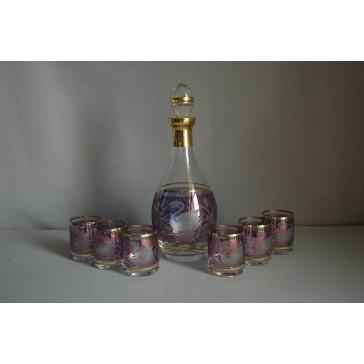 Set láhev + 6ks sklenička Barline labuť modrá