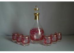 Set láhev + 6ks sklenička Barline květina červená