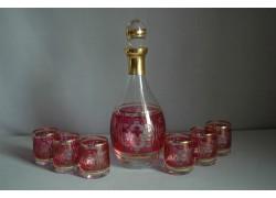 Set láhev + 6ks sklenička Barline malá květina červená