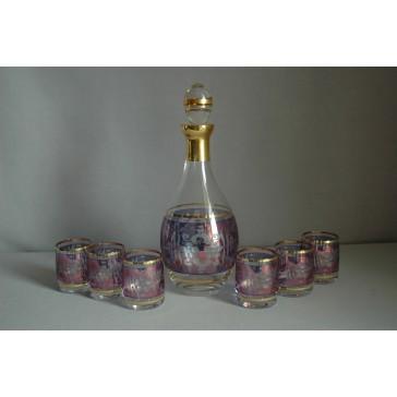 Set láhev + 6ks sklenička Barline m květina modrá