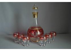 Set láhev + 6ks sklenička Gina květina červená