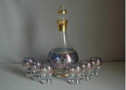 Set láhev + 6ks sklenička Gina květina modrá