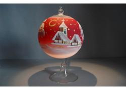 Weihnachtskugel auf einer Kerze 12cm rot www.sklenenevyrobky.cz